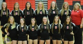 The 2014 White Pigeon volleyball team.