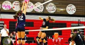 White Pigeon's Sydney Harmon fires a kill against River Valley. | Photo by John Gentry
