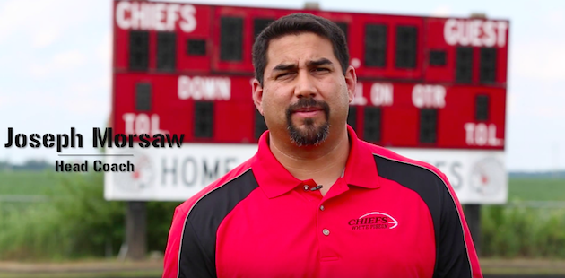 Video: White Pigeon football coach Joseph Morsaw