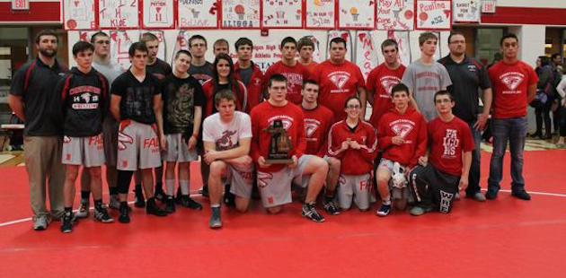 Constantine wrestling team hoists Division 3 district trophy after beating Dowagiac and Coloma