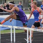 Isaiah Smith pulls ahead quickly against Edwardsburg in the 110 hurdles. | Kandi Harper